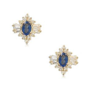 EARRING - PLATED: GOLD - IN COLOURS: BLUE, CRYSTAL