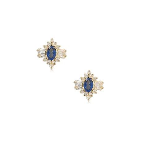 Pendientes de oro en colores cristal, azul. Cortos. Con circonitas