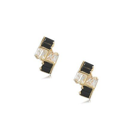 EARRING - PLATED: GOLD - IN COLOURS: BLACK, CRYSTAL
