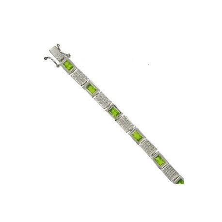 Pulsera de oro blanco en color verde. Con circonitas