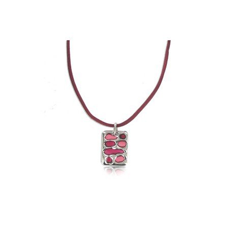 NECKLACES - PLATED: SILVER - IN COLOURS: PREVAILING COLOUR RED, PINK