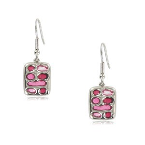 EARRING - PLATED: SILVER - IN COLOURS: PREVAILING COLOUR RED, PINK