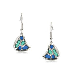 EARRING - PLATED: SILVER - IN COLOURS: GREEN, BLUE