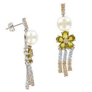Pendientes de oro blanco en colores cristal, verde. Con circonitas, perlas