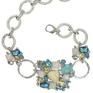 BELTS - PLATED: RHODIUM - IN COLOURS: BLUE, WHITED, TURQUOISE, MULTICOLOR