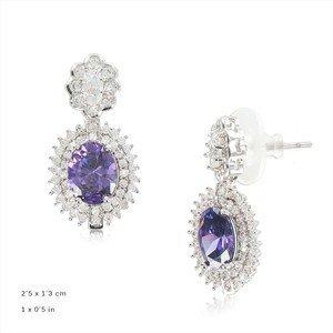 Pendientes Oro Blanco Cristal Violeta