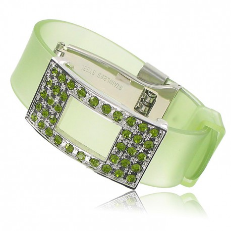 BRACELETS - PLATED: RHODIUM - IN COLOURS: GREEN