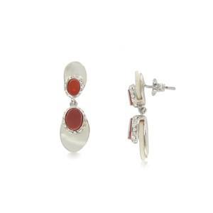 Pendientes de oro blanco en colores blanco, rojo, marrón, topacio, cristal