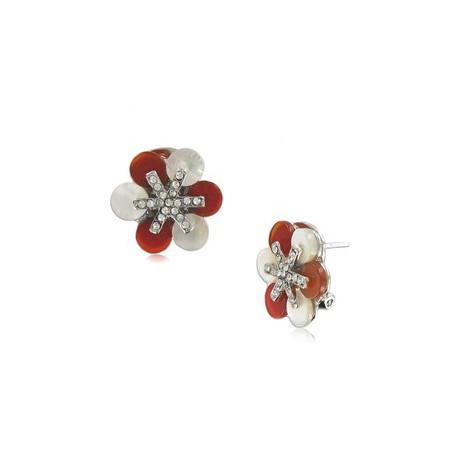 Pendientes de oro blanco en colores marrón, rojo, topacio, cristal, blanco