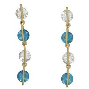 Pendientes de oro en colores azul, cristal. Largos. Con circonitas