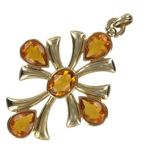 PENDANTS CROSS C/CADENA - PLATED: GOLD - IN COLOURS: TOPAZ