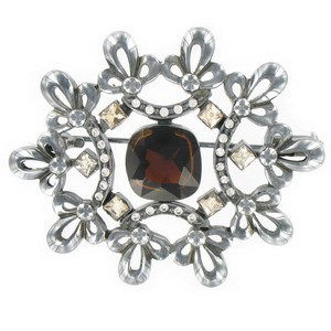 BROOCHES - PLATED: ANTIQUE SILVER - IN COLOURS: RED