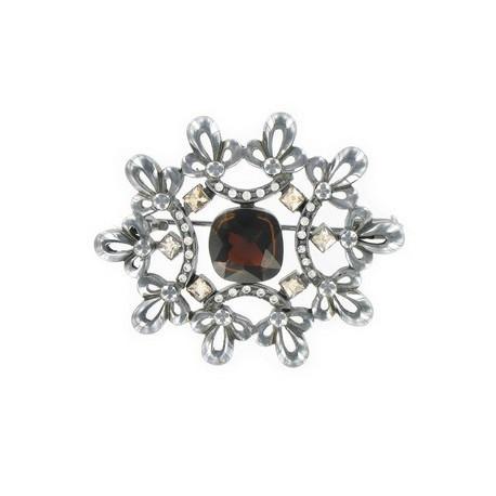 Broche de plata antigua. Mediano. Con circonitas, cristales