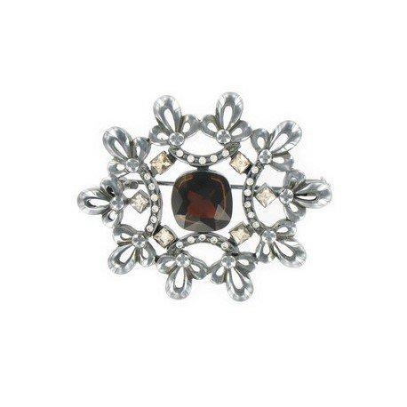 Broche Plata Antigua Cristales Circonita
