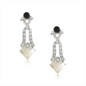 EARRING - PLATED: RHODIUM - IN COLOURS: WHITED, BLACK, CRYSTAL