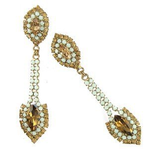 EARRING - PLATED: GOLD - IN COLOURS: YELLOW, GREEN, TOPAZ