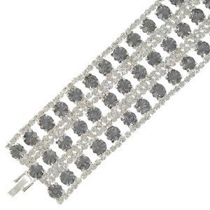 BRACELETS - PLATED: SILVER - IN COLOURS: GRAY, CRYSTAL