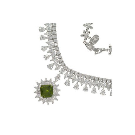 NECKLACES - PLATED: RHODIUM - IN COLOURS: GREEN, CRYSTAL