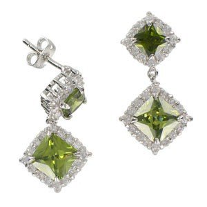 EARRING - PLATED: RHODIUM - IN COLOURS: GREEN, CRYSTAL