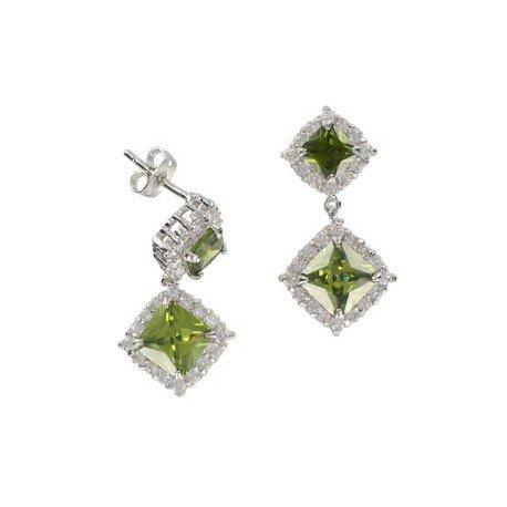 Pendientes de oro blanco en colores cristal, verde. Medianos. Con cristales