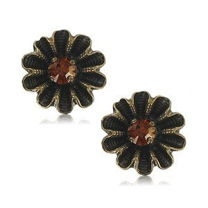 EARRING - PLATED: GOLD - IN COLOURS: TOPAZ, BROWN