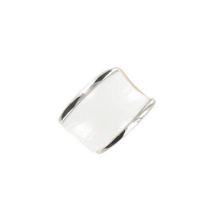 Sortija-Anillo de oro blanco en color blanco. Grande. Con piedra natural