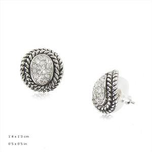 Pendientes Plata Antigua y Oval Cristal