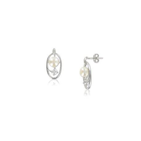 Pendientes Plata de Ley Oro Blanco Color Cristal I