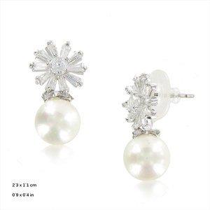 Pendientes Oro Blanco Estrella Perla