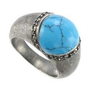 RINGS - PLATED: ANTIQUE SILVER - IN COLOURS: TURQUOISE