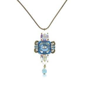 Gargantilla Oro Antiguo Vintage Cristal Azul