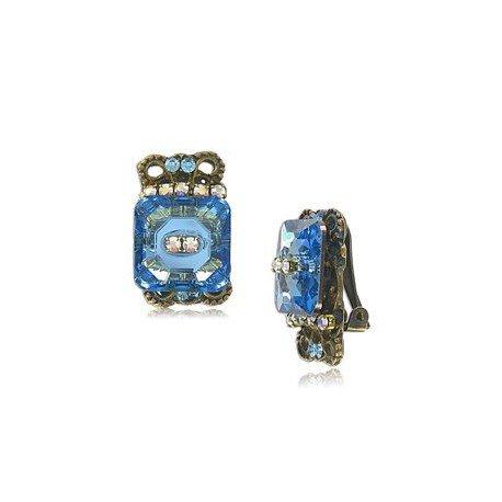 Pendientes Oro Antiguo Vintage Azul