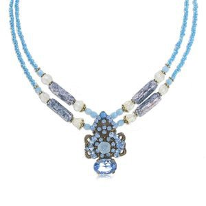 Gargantilla Oro Antiguo Vintage Doble Azul