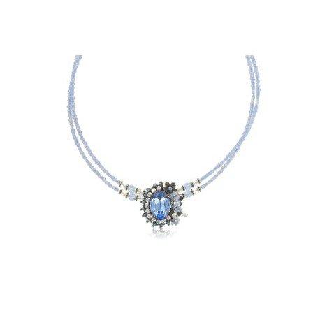 Gargantilla Oro Antiguo Vintage Circonita Azul
