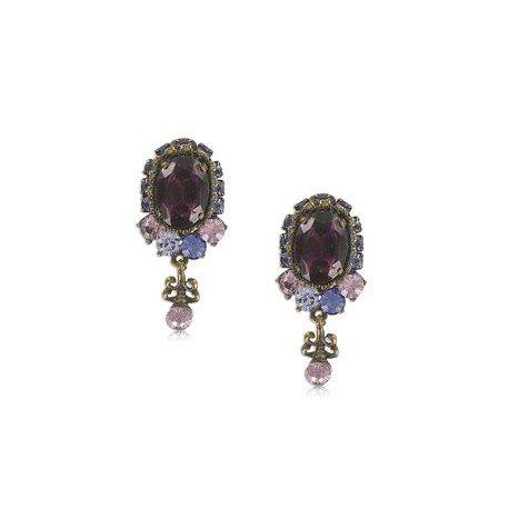 Pendientes Oro Antiguo Vintage Rosa Violeta