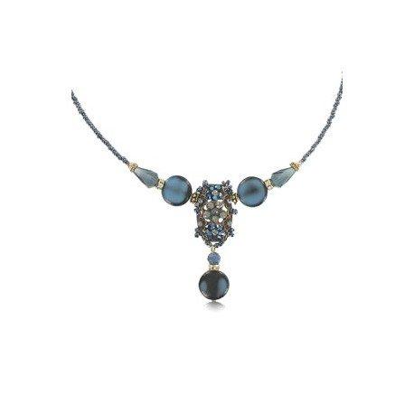 Gargantilla Vintage Abalorio Cristal Azul