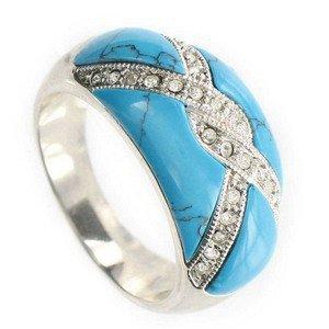 Sortija-Anillo de oro blanco en colores azul, turquesa, cristal. Con piedra natural