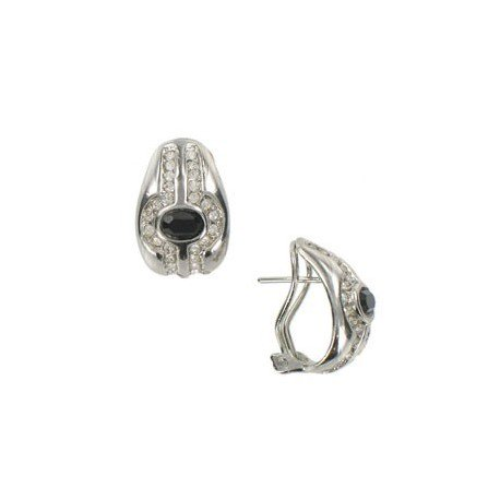 EARRING - PLATED: RHODIUM - IN COLOURS: BLACK, CRYSTAL