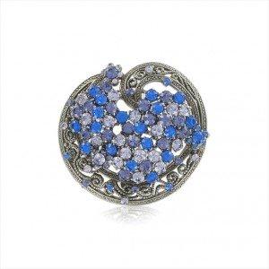 Broche Plata Antigua Cristales Azules