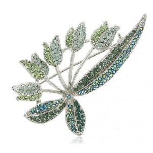 Broche Plata Antigua Cristales Verdes