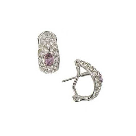 EARRING - PLATED: RHODIUM - IN COLOURS: CRYSTAL, PINK