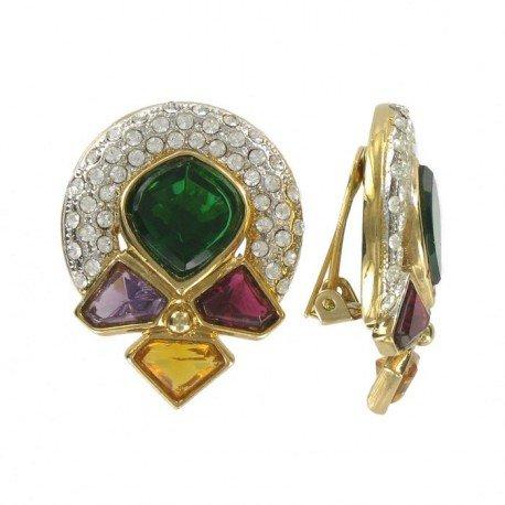 Pendientes Oro Cristales Multicolor