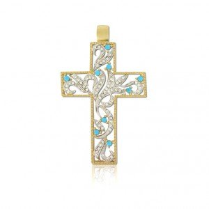 Colgante Oro y Oro Blanco Cruz Cristal