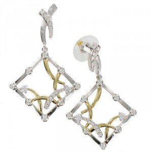 Pendientes Oro y Oro Blanco Cristal