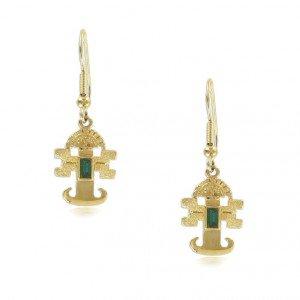 Pendientes Oro Azteca Circonita Verde