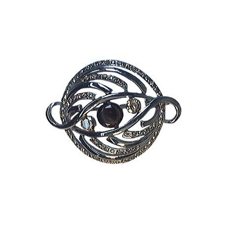BROOCHES - PLATED: ANTIQUE SILVER - IN COLOURS: PREVAILING COLOUR RED