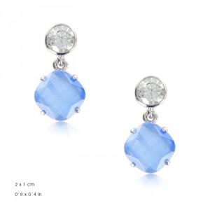 Pendientes Oro Blanco Cristal Azul