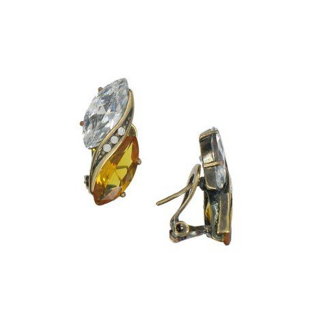 Pendientes de oro en colores topacio, marrón, cristal. Cortos. Con cristales
