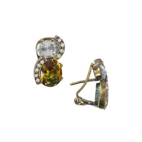 Pendientes de oro en colores topacio, marrón, cristal. Cortos. Con circonitas