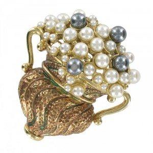 Broche Oro Antiguo y Jarrón Imperio Perlas